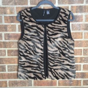 New Directions Faux Fur Animal Print Vest